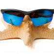 Starfish in sunglasses on vacation. isolated — Stock Photo