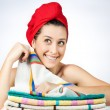 Woman in bathroom with towel on head — Stock Photo #21806391