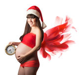 Christmas Pregnant woman with red wings. isolated — Stock Photo