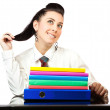 Portrait of a nice woman with office folders — Stock Photo #21980485
