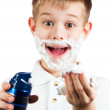 Little boy in shaving foam. isolated - Stock Photo