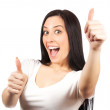 Bright picture of lovely  girl with thumbs up — Stock Photo