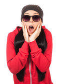 Surprised Woman with sunglases — Stock Photo