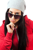 Pretty brunette Woman with sunglases — Stock Photo