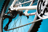 Rear mountain bike cassette on the wheel with chain — Stock Photo