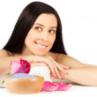 Stock Photo: Beautiful brunette is relaxing in spa. isolated