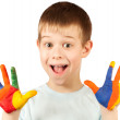 Happy boy with stained coloured hand — Stock Photo #22952412