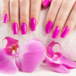 Manicure with fragrant orchid — 图库照片