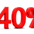 Stock Photo: 3D rendering of 40 per cent in red letters