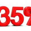 3D rendering of a 35 per cent in red letters - Stock Photo