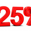 3D rendering of 25 per cent in red letters — Foto Stock #23368432
