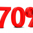 Stock Photo: 3D rendering of 70 per cent in red letters