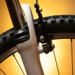 Bicycle wheel with suspension fork — Stock Photo