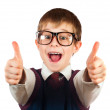 Stock Photo: Swot boy with glasses