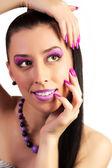 Mulher linda com maquiagem rosa — Foto Stock