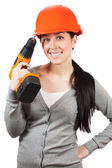 Smiling woman with orange hard hat. isolated — Stock Photo