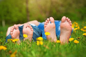 Feet on grass. Family picnic in green park — Stock Photo