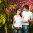 Loving couple in a green park. summer — Stock Photo