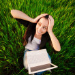 Woman in a green field with a laptop. summer — Stock Photo #26199963
