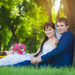 Newlyweds are sitting on the green grass — Stock Photo #26897047