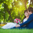 Bride and groom are sitting on the green grass — Stock Photo