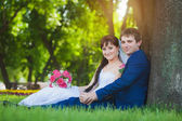 Newlyweds are sitting on the green grass — Stock Photo