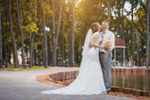 Bride and groom are kissing in the park — Stock Photo