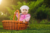 Nice baby in basket in the green park — Stock Photo