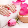 Stock Photo: Hands with fragrant rose petals and towel. Spa