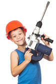 Little boy with power tool kit — Stok fotoğraf