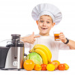 Happy Scullion is pressing the juice from the fruit — Stock Photo