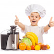 Happy Scullion is pressing the juice from the fruit — Foto de Stock