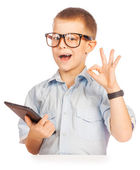 Cute boy with tablet. isolated — Stock Photo