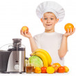 Stock Photo: Happy Scullion is pressing juice from fruit