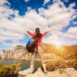 Woman tourist is enjoying landscape — Stock Photo