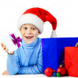 Happy kid with a lot of Christmas gifts — Foto Stock