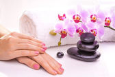 Beautiful manicure with pink orchid and towel — Stock Photo