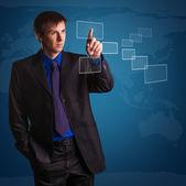 Successful businessman on world map background — Stock Photo