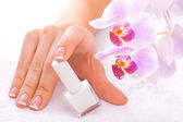 Beautiful manicure with pink orchid on the white — Stock fotografie