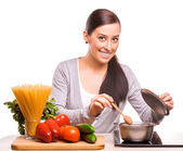 Happy mom and som are cooking on the kitchen — Stock Photo