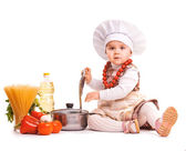 Baby Scullion is cooking on the kitchen. isolated — Stock Photo