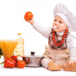Stock Photo: Scullion is cooking on kitchen. isolated