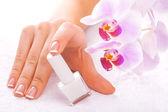美丽的指甲油,用白色衬底上的粉色兰花 — 图库照片