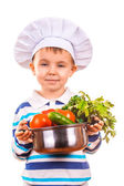 Scullion is cooking on the kitchen. isolated — Stock Photo