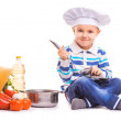 Stock Photo: Funny Scullion is cooking on kitchen. isolated