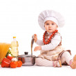Stock Photo: Baby Scullion is cooking on kitchen. isolated