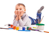 Cheerful child is drawing. isolated — Stock Photo