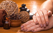 Beautiful brown manicure on a bamboo background — Stockfoto