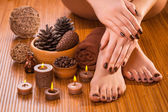 Brown manicure and pedicure on the white — Stock Photo