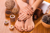 Beautiful brown manicure and pedicure on the bamboo — Stock Photo